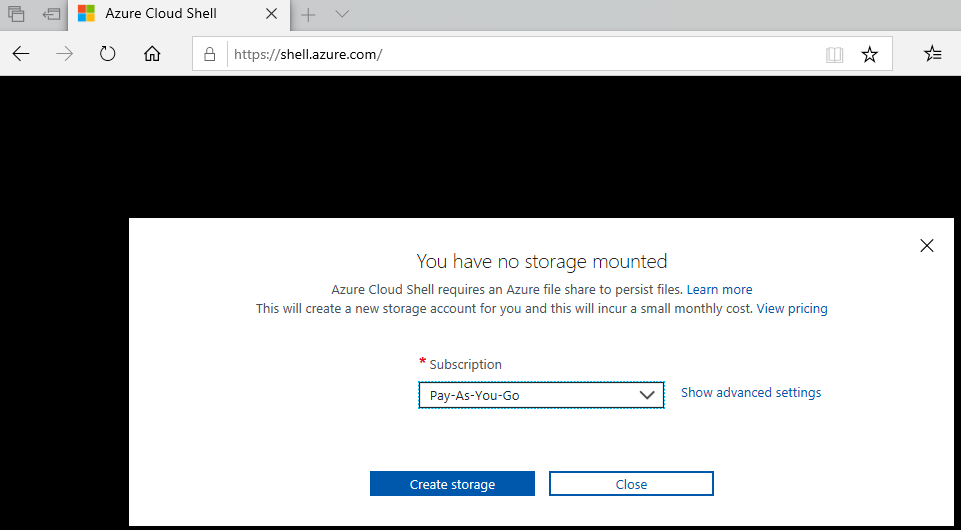 Azure Cloud Shell Storage Warning