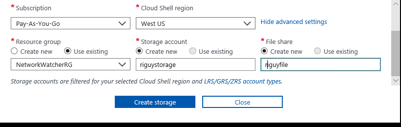 Azure Cloud Shell Storage Account