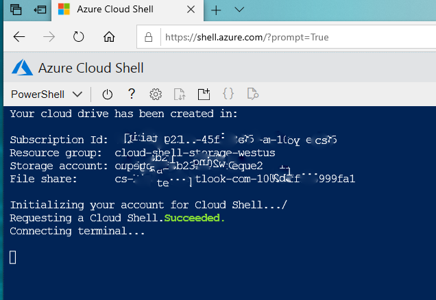 Initializing Azure Cloud Shell