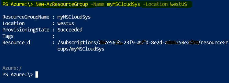 Azure Cloud Shell Resource Group