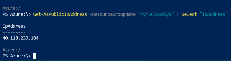 Azure Cloud Shell Get-AzPublicAddress