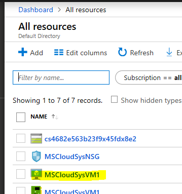 Azure Portal All Resources
