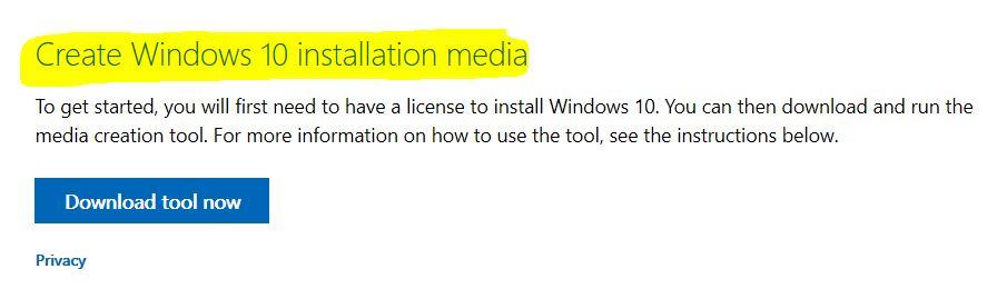Windows 10 Media Installation